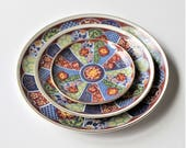 Vintage Imari Ware blue, rust, and green decorative plates, three plates in differing sizes, Asian décor, cottage décor, traditional decor