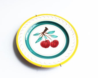 Vintage Stangl pottery Fruit pattern luncheon-size display plates, yellow apple, cherries, cottage décor, farmhouse decor