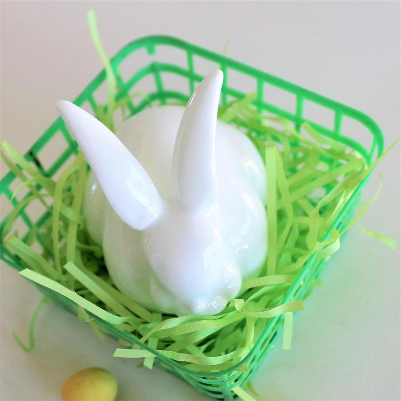 Vintage porcelain crouching rabbit cottage decor springtime d\u00e9cor round white bunny Easter d\u00e9cor
