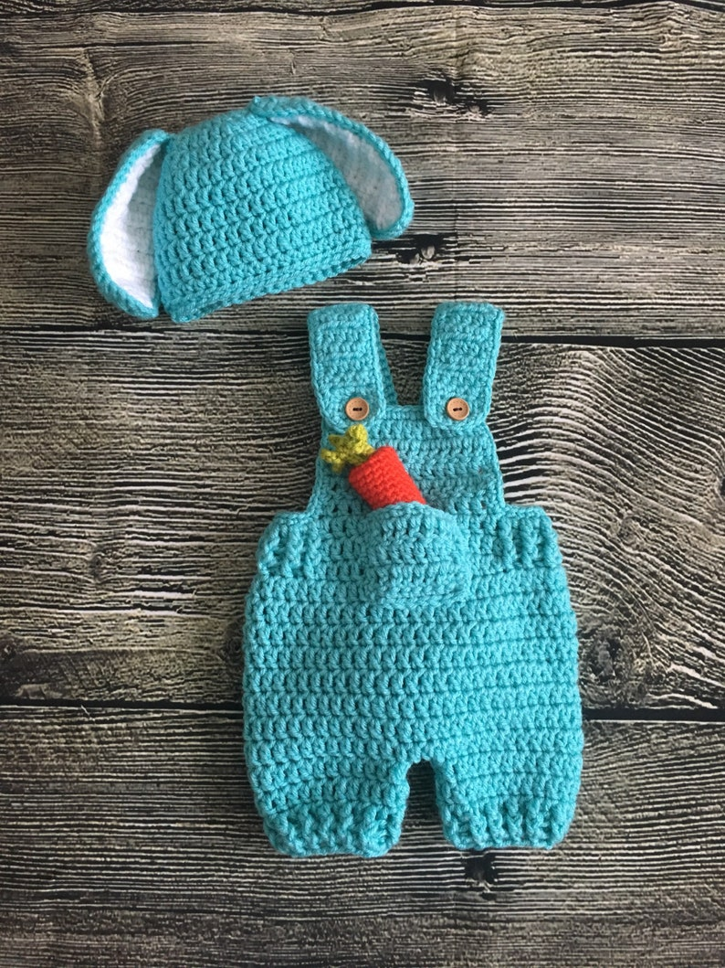 1534592123ed8 Newborn Baby Boy Crochet Easter Bunny overalls and floppy ears