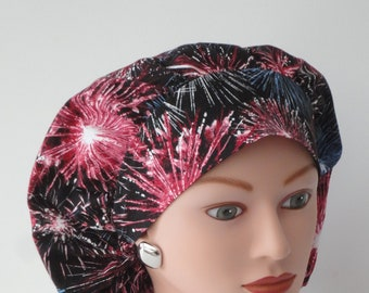 July 4th Fireworks Skull style scrub hat