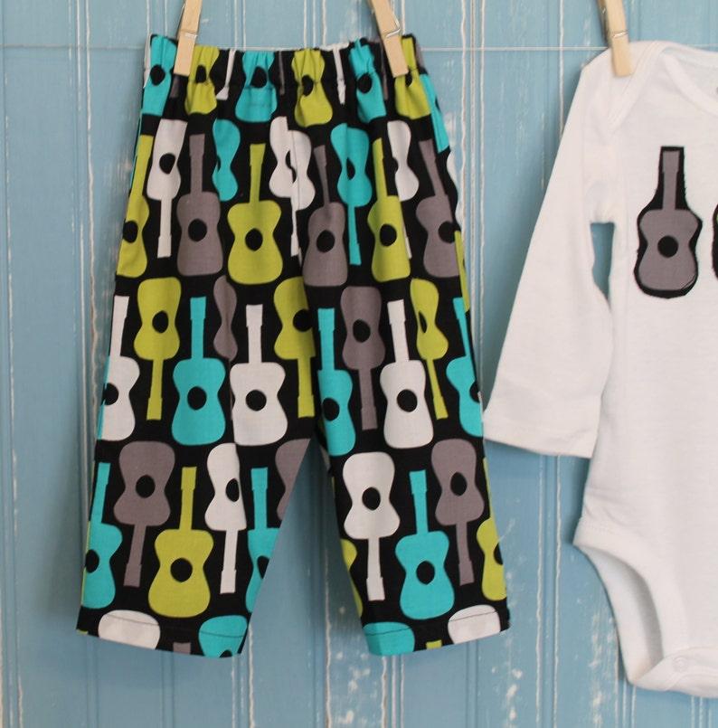 Handmade, Baby Boy/'s Pant Set,Baby Boy Pants and Onesie Guitar Cotton fabric