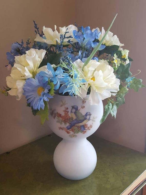 Silk Floral Arrangement Blue Yellow Flowers Bird Vase Etsy