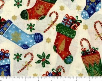 Red /& Cream Christmas Stocking Print Fabric Material Metre 100/% Cotton Fabric