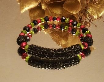 Black/red/green rhinestone tube bracelet