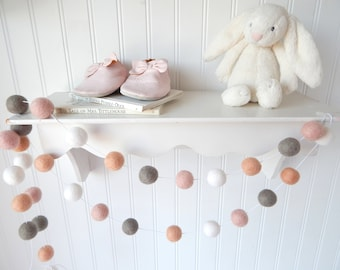 Boho Garland Banner Girl Nursery Decor Felt Ball Garland Shabby Baby Girl Room Pom Pom Garland Baby Girl Blush Peach Wall Decor Hanging
