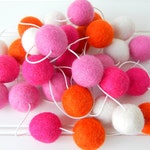 Pink Orange Garland, Felt Ball Garland, Girl Nursery Decor, Pom Pom, Bunting, Birthday Garland, Party Decor, Baby Girl Room,Baby Garland