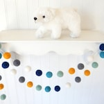 Blue Yellow Garland, Baby Boy Nursery Decor, Boy Room Decor, Baby Boy Decor, Felt Ball Garland, Boy Baby Shower, Pom Pom Garland