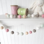 Shabby Chic Nursery Decor, Felt Ball Garland, Baby Girl Nursery, Vintage Girl's Room, Pom Pom Garland Bunting Banner, Pink, Mint Green, Gray