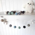 Blue Gray Garland, Baby Boy Room, Baby Boy Felt Ball Garland, Pom Pom Garland, Baby Boy Nursery Decor, Playroom Decor, Mint Blue Gray