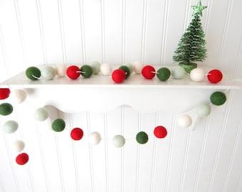 Christmas Garland, Christmas Felt Ball Garland, Pom Pom Garland, Christmas Decor, Christmas Tree Garland Mantel Decor Holiday Decor, Vintage