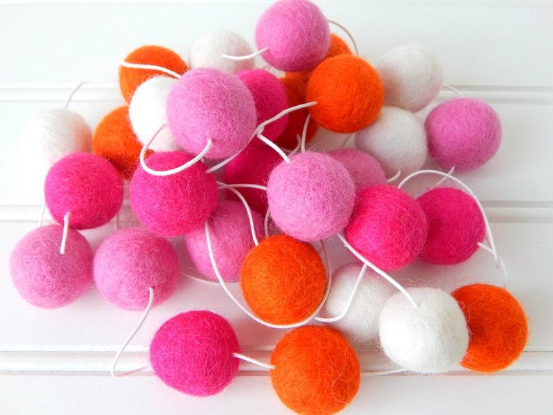 Pink Orange Garland Felt Ball Garland Girl Nursery Decor image 0