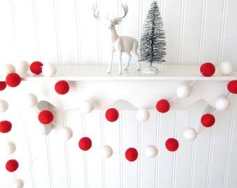 Red and White Garland, Christmas Garland, Xmas Garland, Felt Ball Garland, Mantel, Bunting, Holiday Decor, Pom Pom Garland, Christmas Decor