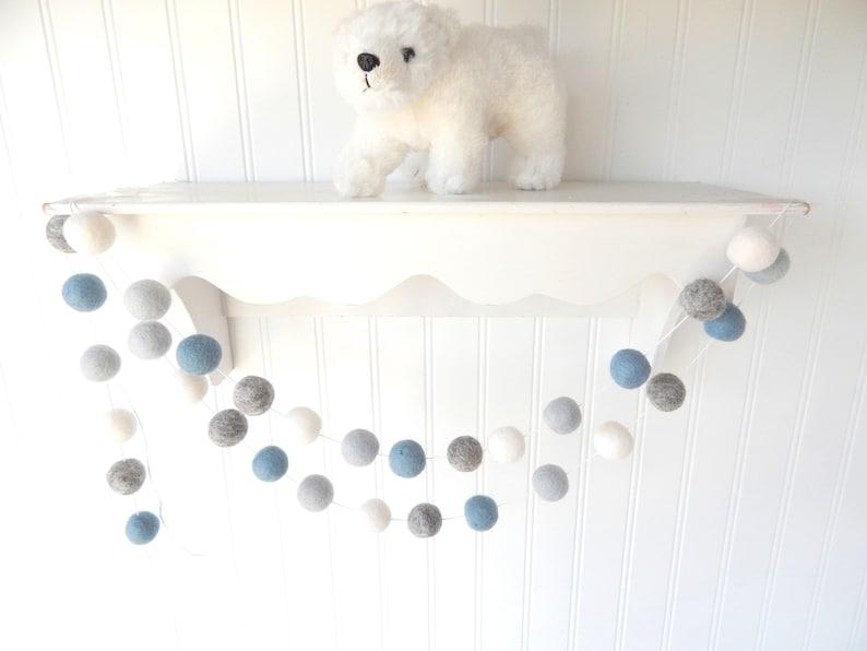 Blue Gray Garland Nautical Nursery Decor Baby Boy Nursery image 0