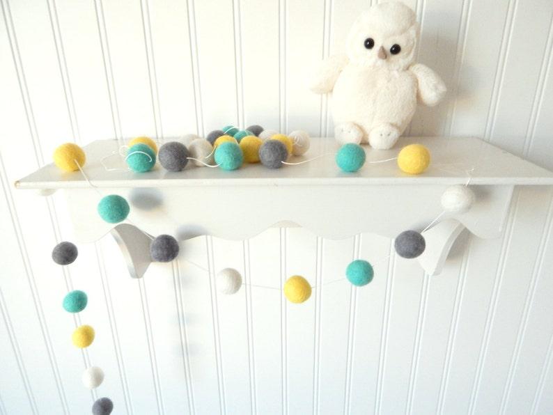 Aqua Mint Yellow Gray Nursery Mint Garland Baby Room Decor image 0