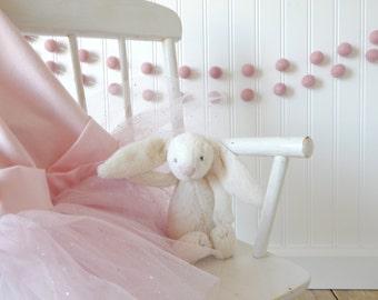Pink Garland, Girl Nursery Decor, Felt Ball Garland, Baby Girl Room Decor, Baby Shower, Girl's Room, Party Decor, Bunting, Baby Pink, Blush