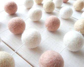 Pink and Cream Garland, Pom Pom Garland, Felt Ball Garland, Baby Girl Nursery Room, Wedding Banner, Bunting, Pastel, Shabby Blush Pink