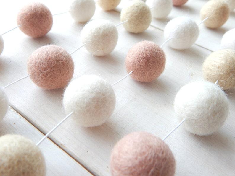 Pink and Cream Garland Pom Pom Garland Felt Ball Garland image 0
