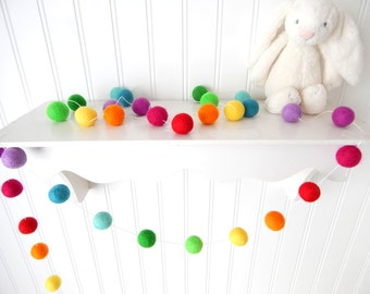 Kids Decor, Rainbow Felt Ball Garland, Nursery Garland, Pom Pom Garland, Birthday Garland, Bunting, Cake Smash, Baby Shower, Playroom Decor
