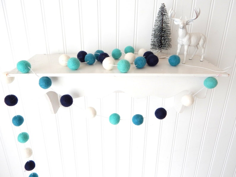 Christmas Garland Blue Christmas Felt Ball Garland Pom Pom Garland Christmas Decor Christmas Tree Garland Mantel Decor Holiday Decor