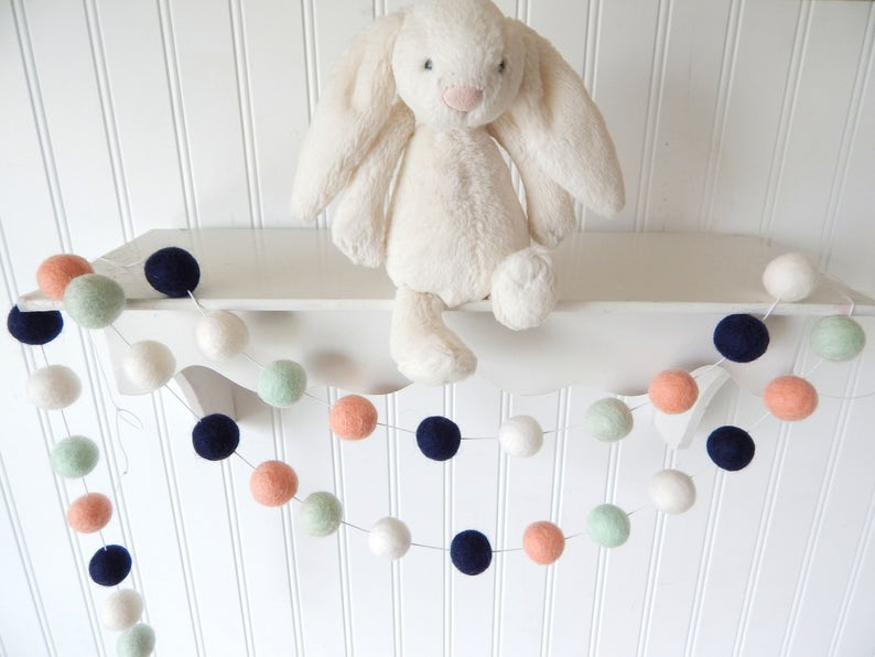 Coral and Navy Garland Felt Ball Garland Aztec Nursery image 0