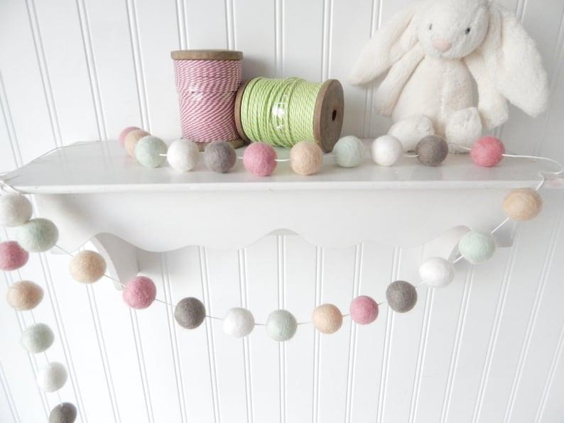 Shabby Chic Nursery Decor Felt Ball Garland Baby Girl image 0