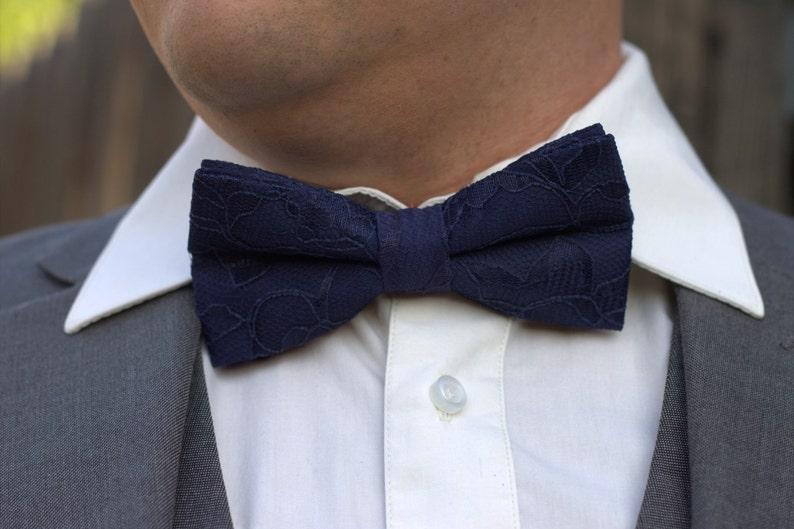 Navy blue bow tie Men/'s Bow Tie Baby Bow Tie Midnight Blue Lace Midnight Blue Bow Tie Deep blue bow tie Blue Lace Bow Tie