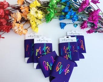 Pride Bridesmaid Proposal - Gay Wedding - Pride Can Cooler - Bachelorette Party Favors - Bridal Party Gifts - Lesbian Wedding - PrideWedding