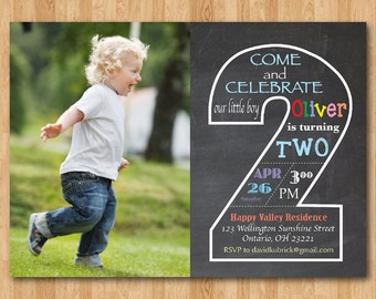 Chalkboard Second Birthday Invitation With Picture 2nd Invite Photo Baby Boy Or Girl Party Printable Digital DIY