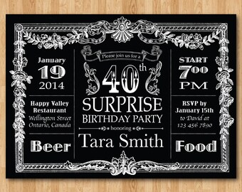 40th Birthday Invitation Chalkboard Surprise Men Invite 30th 50th 60th Any Age Adult Printable Digital DIY