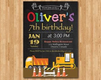 construction birthday invitation boy birthday party etsy