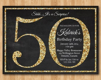 50th Birthday Invitation Gold Glitter Party Invite Adult Surprise Elegant Printable Digital DIY