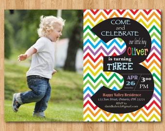 Rainbow 3rd Birthday Invitation Chevron Third Party Invite With Custom Photo Chalkboard Boy Or Girl Printable Digital DIY