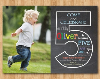 5th birthday invite etsy chalkboard 5th birthday invitation with picture fifth birthday invite with photo baby boy or girl birthday party printable digital diy filmwisefo