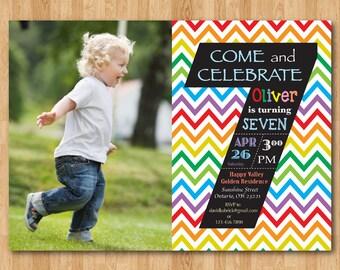 Rainbow 7th Birthday Invitation Chevron Seventh Party Invite With Custom Photo Chalkboard Boy Or Girl Printable Digital DIY