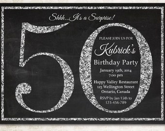 50th Birthday Invitation Silver Glitter Party Invite Adult Surprise Elegant Printable Digital DIY