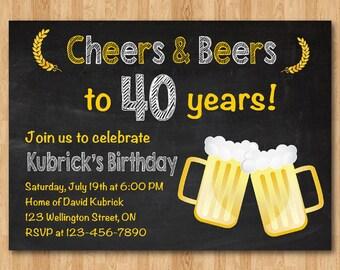 Beer Party Adult Birthday Invitation Chalkboard Masculine 30th 40th 50th 60th Invite Man Printable Digital DIY