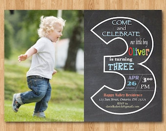 Chalkboard 3rd Birthday Invitation With Picture Third Invite Photo Baby Boy Or Girl Party Printable Digital DIY