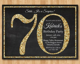 70th Birthday Invitation Gold Glitter Party Invite Adult Surprise Elegant Printable Digital DIY