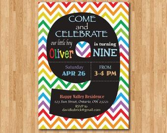 Rainbow 9th Birthday Invitation Colorful Chevron Party Invite Chalkboard Ninth Boy Or Girl Printable Digital DIY
