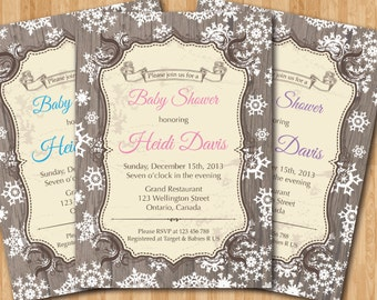 Winter Baby Shower Invitation Rustic Invite Boy Or Girl Wood Snowfalkes Vintage Wooden Background Printable Digital DIY