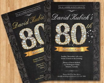 80th Birthday Invitation Black And Gold Diamond Number Bash Invite Chalkboard Background Custom Any Color Wording DIY