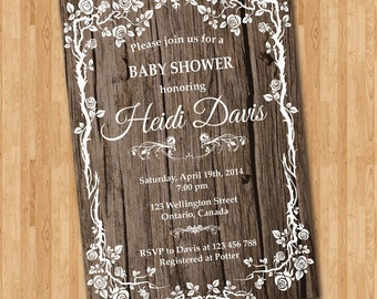 Rustic Baby Shower Invitation Woodland Floral Flower Invite Boy Or Girl Elegant Printable Digital DIY