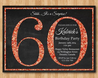 Coral 60th invite etsy 60th birthday invitation coral glitter birthday party invite adult surprise birthday elegant printable digital diy filmwisefo