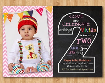 Second Birthday Invitation Chalkboard 2nd Invite With Photo Chevron Baby Boy Or Girl Blue Any Color Printable Digital DIY