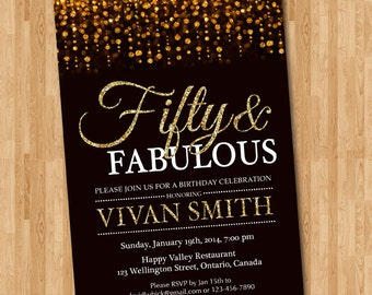 50th Birthday Invitation For Women Fifty And Fabulous Golden 50 Gold Glitter Glam InviteAny Age Printable Digital DIY