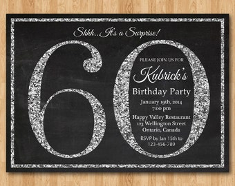 60th Birthday Invitation Silver Glitter Party Invite Adult Surprise Elegant Printable Digital DIY