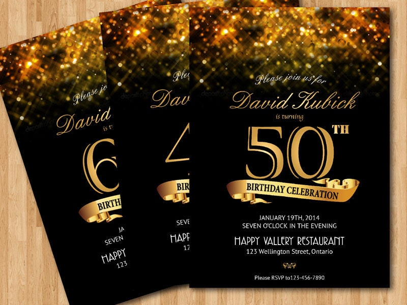 30th 40th 50th 60th Birthday Invitation Gold Glitter