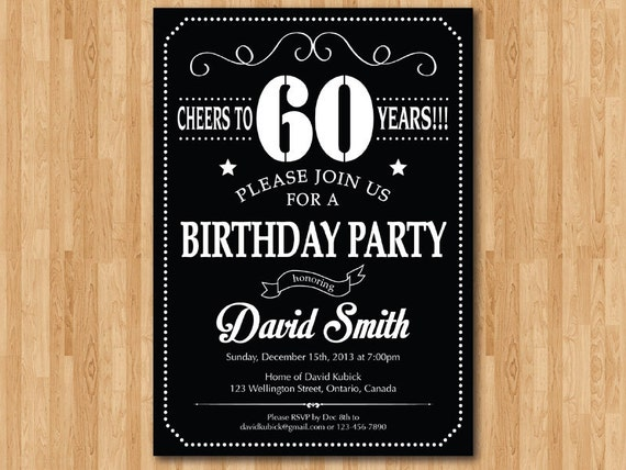 60th Birthday Invitation Chalkboard Black White And Red 30th