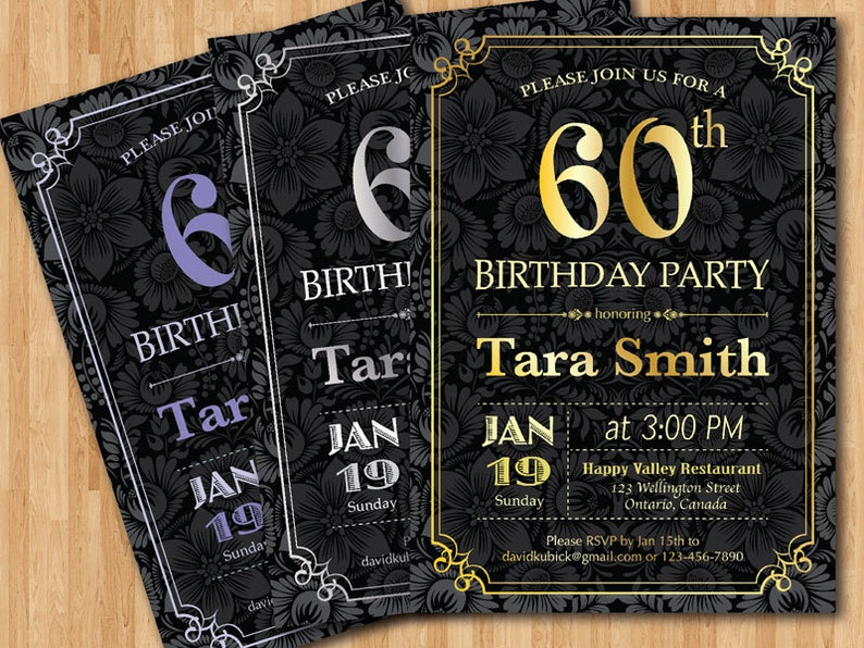60th Birthday Invitation Gold Silver Or Any Color Chalkboard Background Party Invites Printable Adult DIY